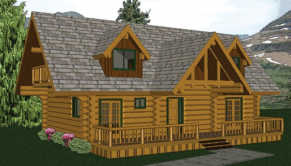 Victoria home plan by big foot log timber homes for Log cabins victoria
