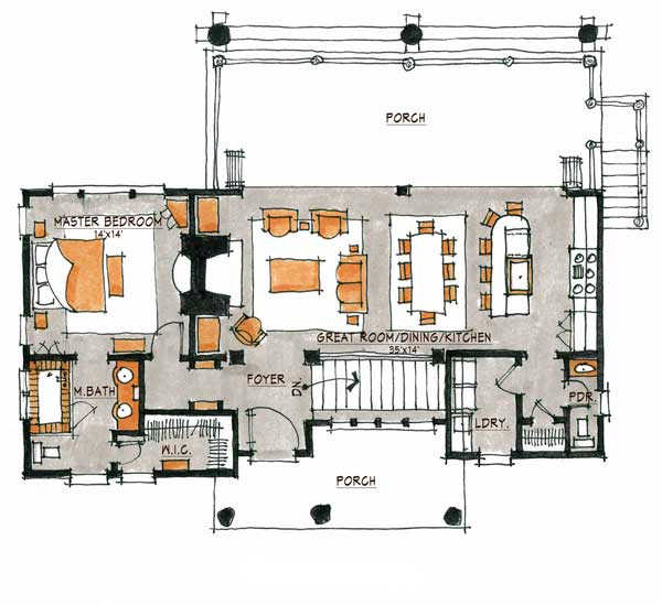 Hoot camp home plan by natural element homes for Camp floor plans