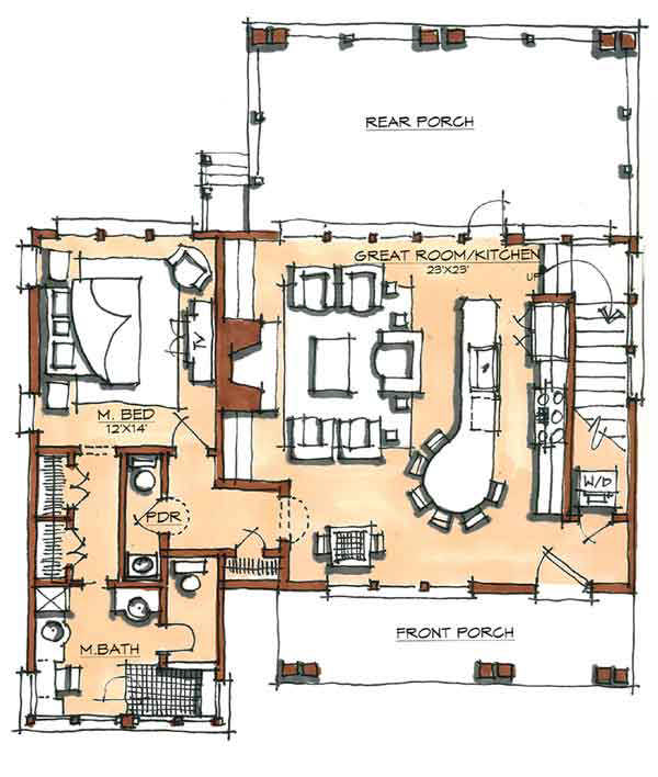John brown camp home plan by natural element homes for Camp house plans