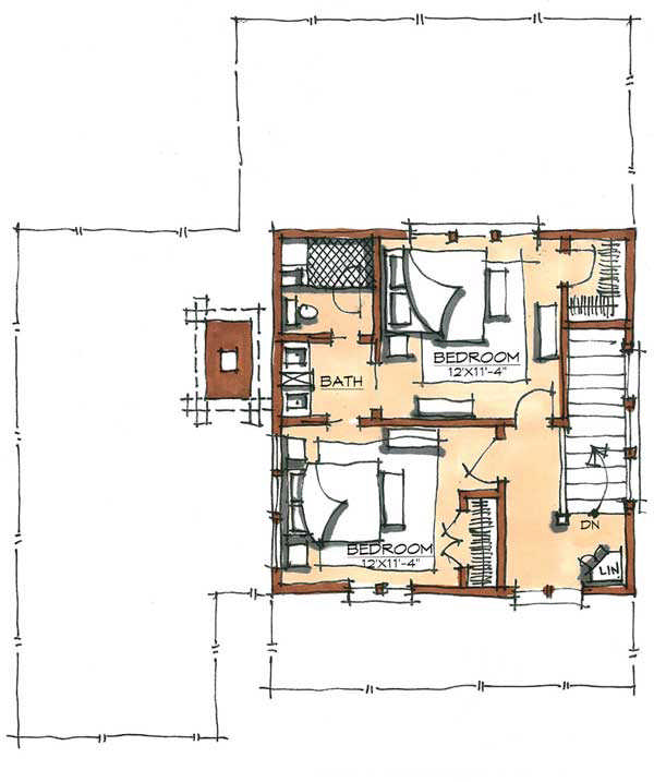 John brown camp home plan by natural element homes for Camp floor plans