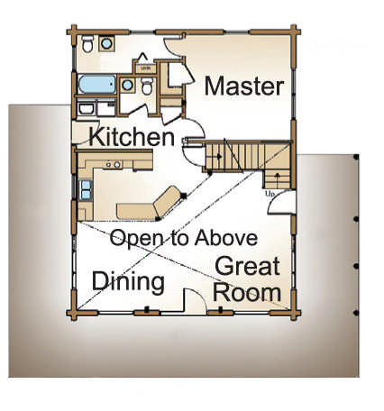 Augusta home plan by real log homes for Real log homes floor plans