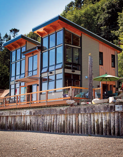 A beautiful example of a prefab timber home, this 1,560-square-foot home  was designed and built by Seattle-based FabCab, and made from milled  Douglas fir ...