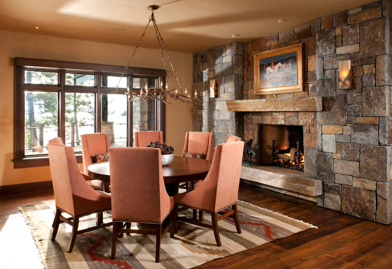 Rocks, anchored in place from behind, fit together like puzzle pieces in this elegant dining room. Photo by Heidi Long.