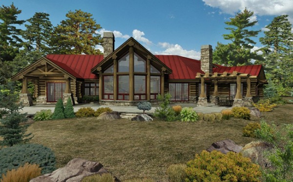 Kodiak trail ii log home floor plan by wisconsin log homes for Ranch log home floor plans