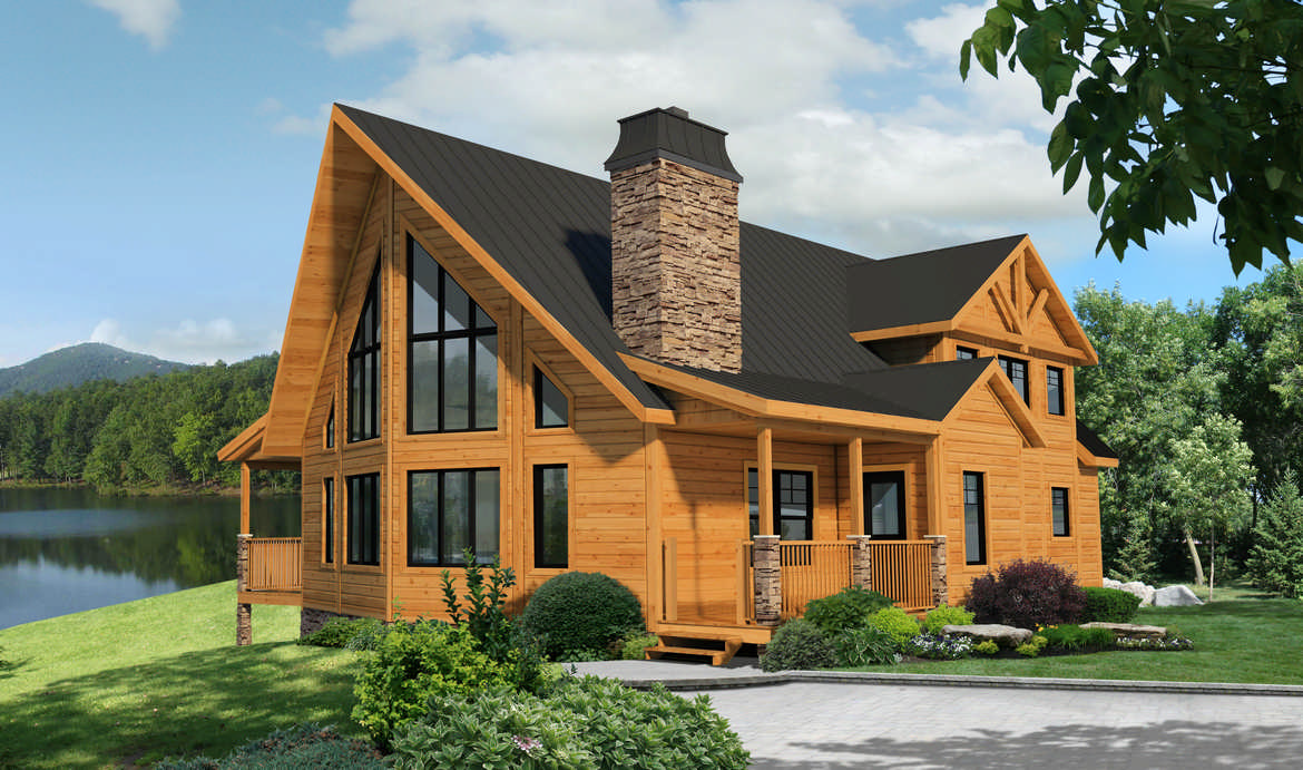 Fairmont log cabin plan by timber block for Timber log home plans