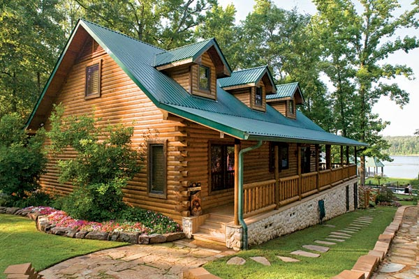 Custom crafted lakefront log home for Lakefront modular home plans