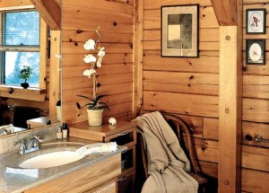 Log Home Bathroom Interior