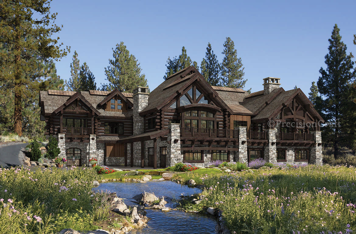 Buffalo creek lodge house plan by precision craft for Mountain lodge home plans