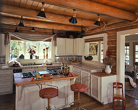 log home kitchen task lighting