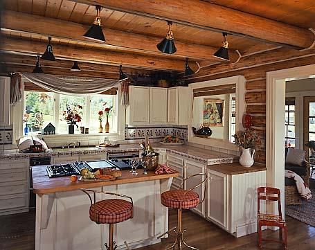 log home kitchen task lighting