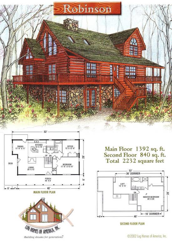 Robinson log home floor plan by log homes of america for Robinson house plans