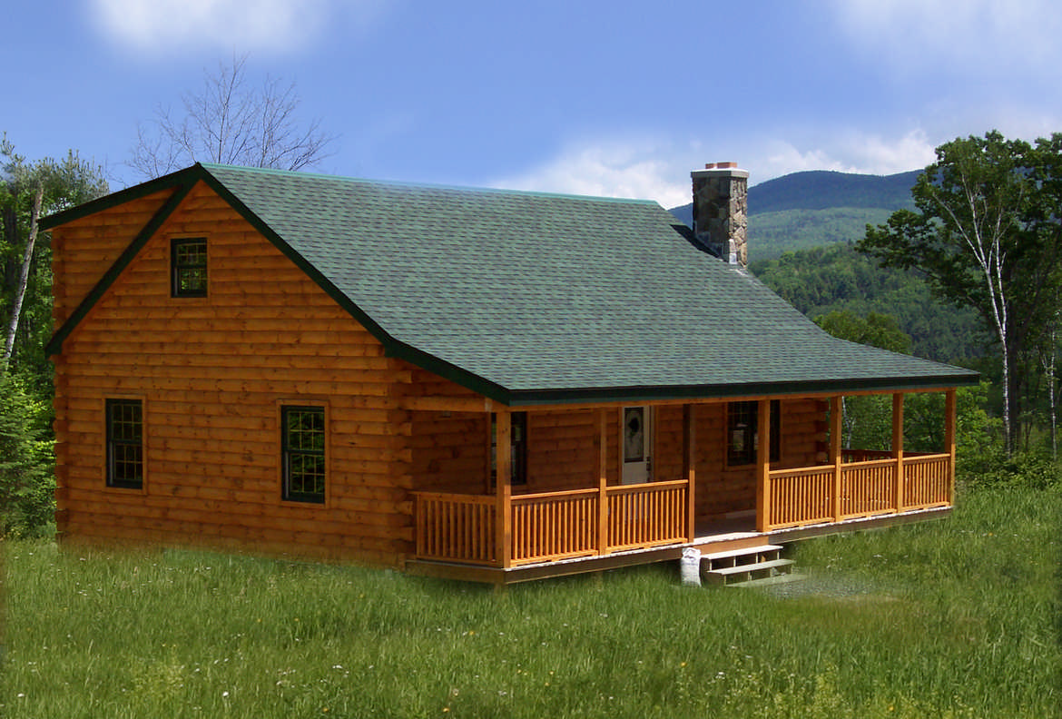 Gambrel roof log home plans for Log cabin home plans designs