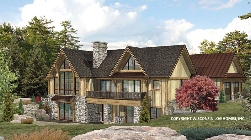 Lakefront Log Home Design by Wisconsin Log Homes