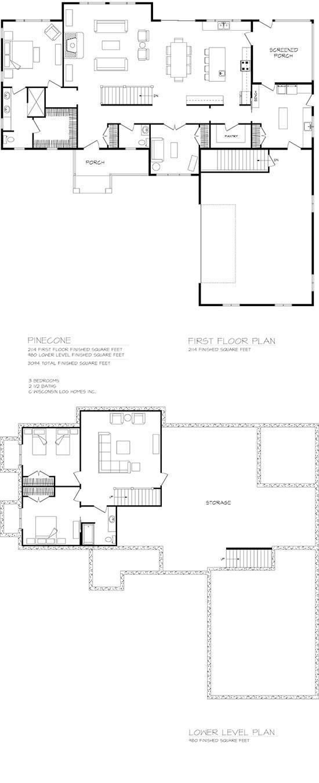 Pinecone Log Home Floorplan