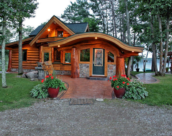 A Small Cabin Built With Unique Logs