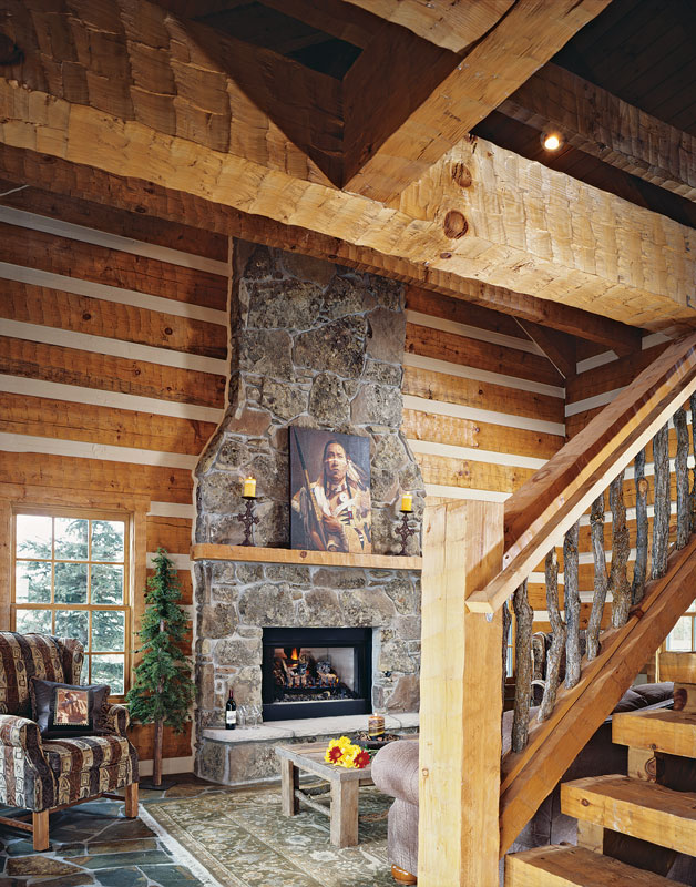 log home stone fireplace chinking