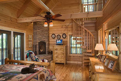 log home fireplace bedroom
