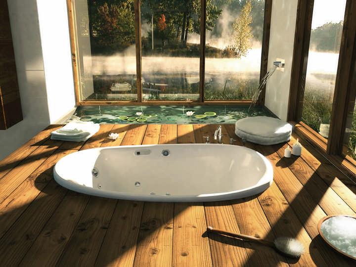 luxury log home bathroom tub