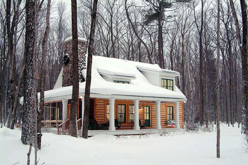 exterior chinking log home cabin cottage snow winter