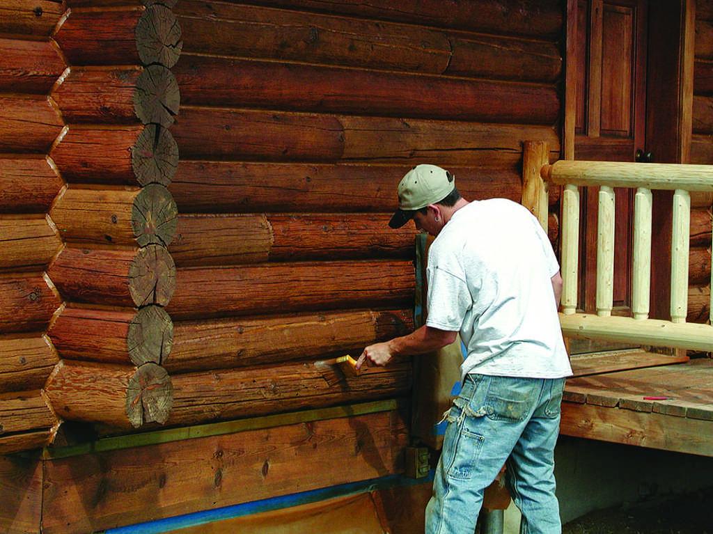 chinking log home exterior
