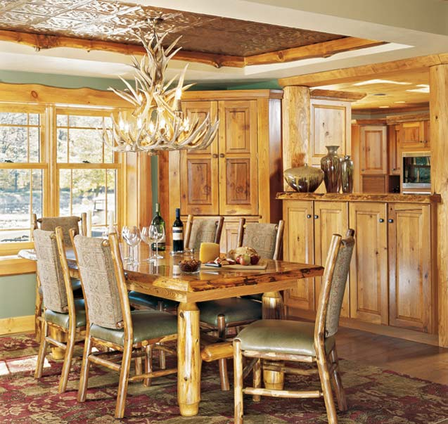 Lighting Fixtures For Log Home Dining Area