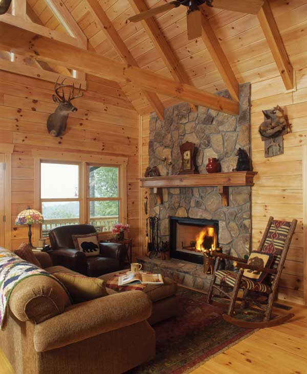log cabins great room