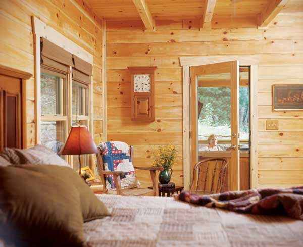 log cabins bedroom hot tub