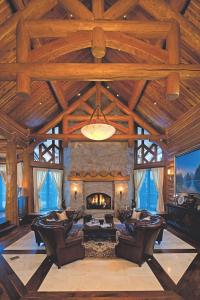 luxury log home resort fireplace