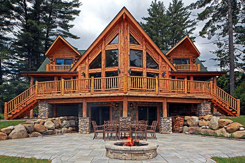 Adirondacks Lakeside Retreat Log Home