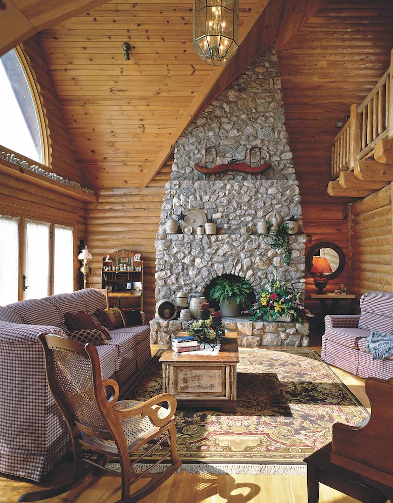 Arkansas log home great room