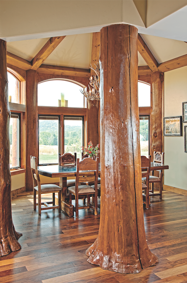 log home dining area with room divider