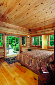 arts and crafts log home bedroom