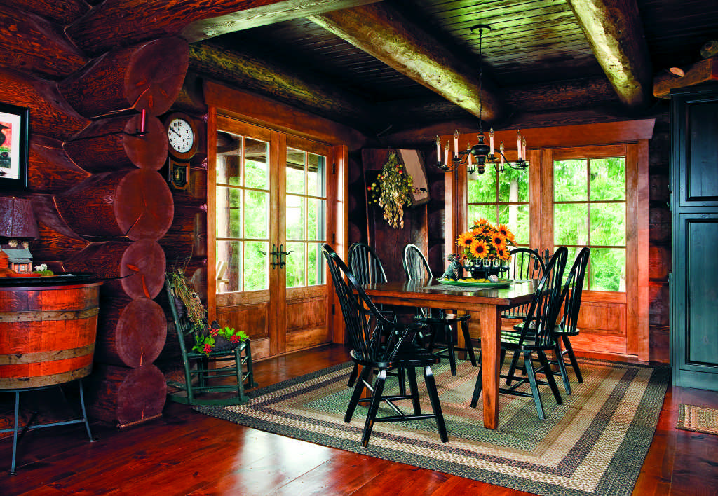 cozy log cabin dining room