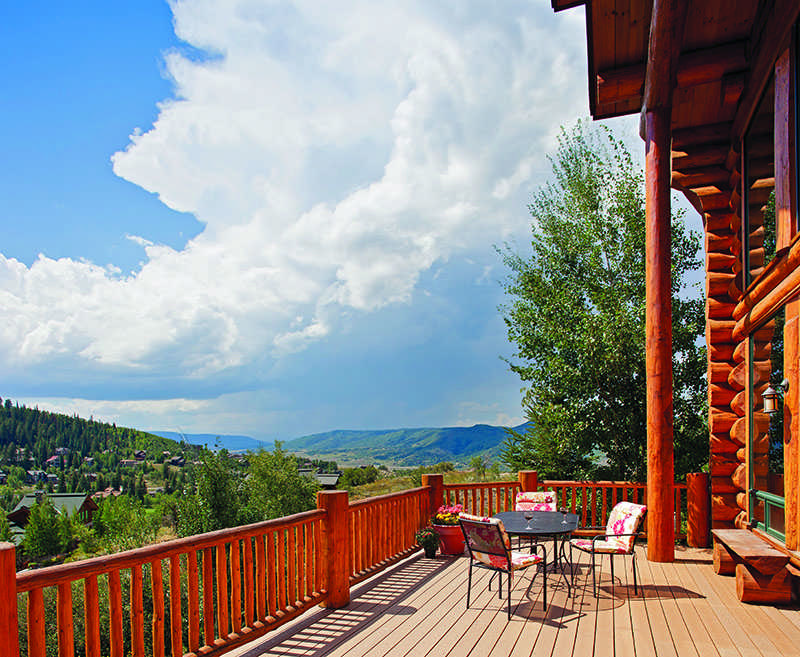 Colorado log home exterior patio deck porch views