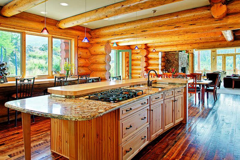 Colorado log home kitchen island