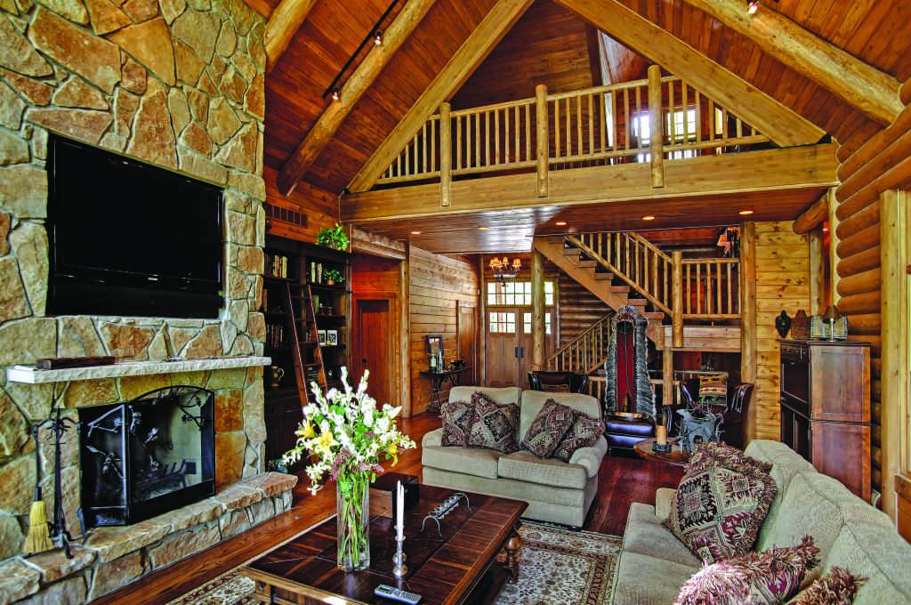 Michigan lakeside log home great room