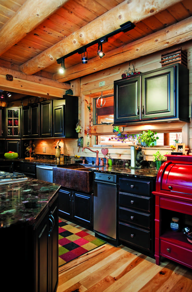 Maine log home kitchen
