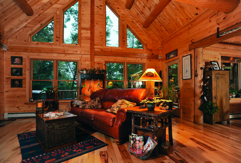 Maine log home interior great room windows