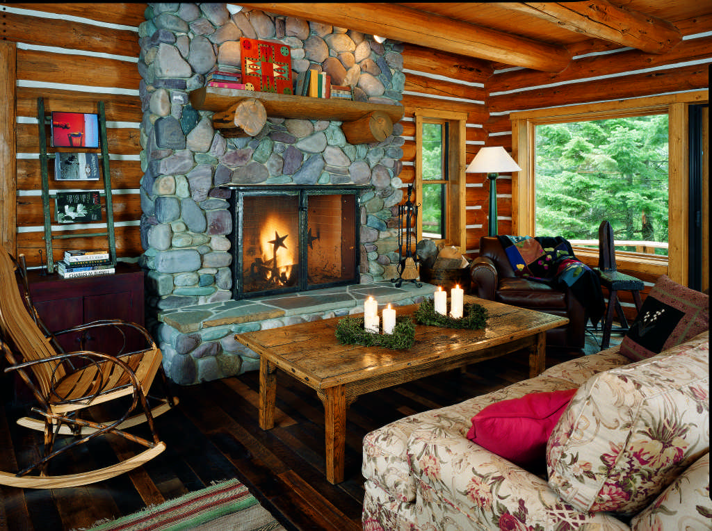 log cabin stone fireplace great room