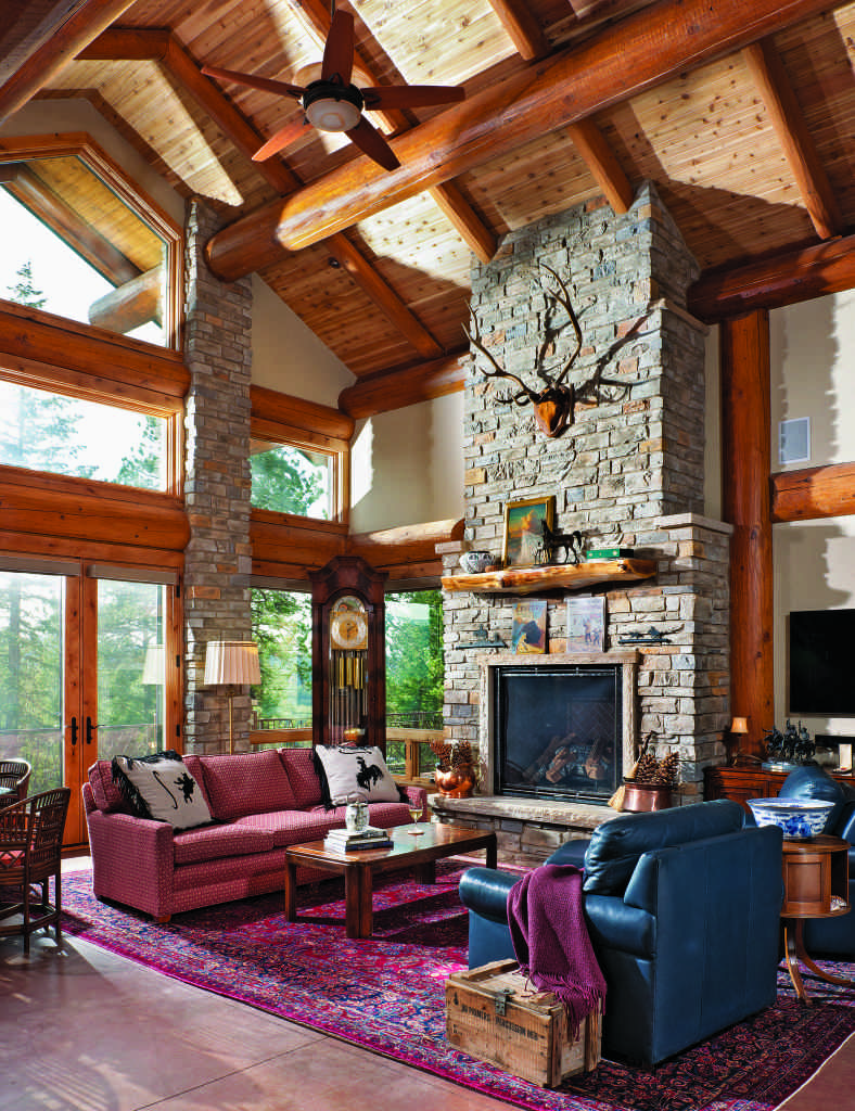 Rocky Mountain log home great room