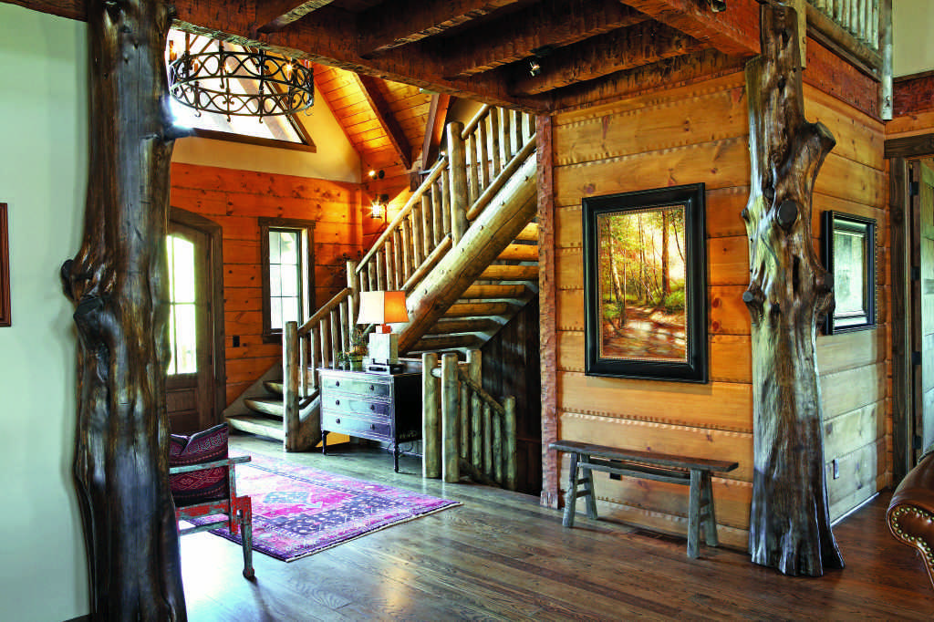 Alabama log home foyer entryway staircase