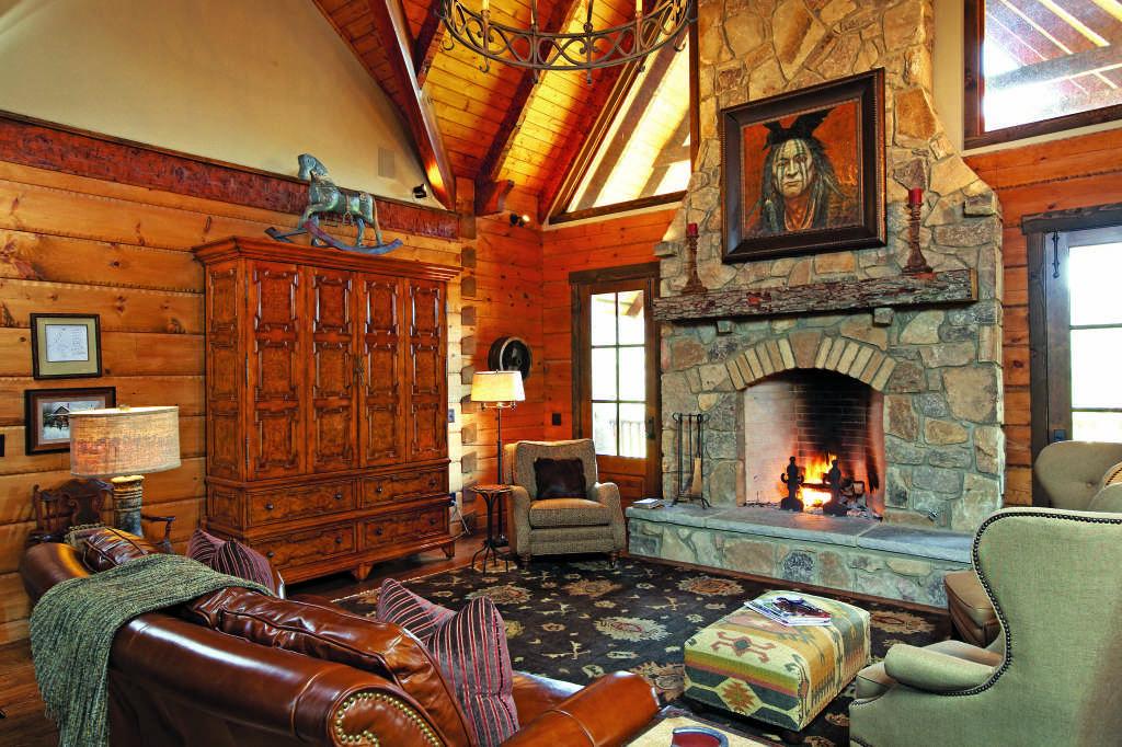 Alabama log home great room stone fireplace