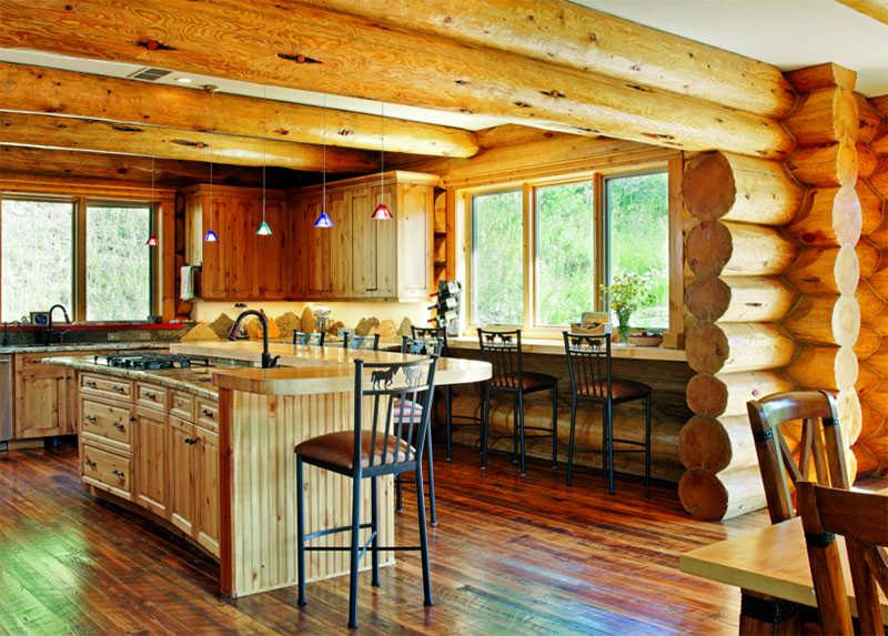 Colorado log home log walls kitchen island