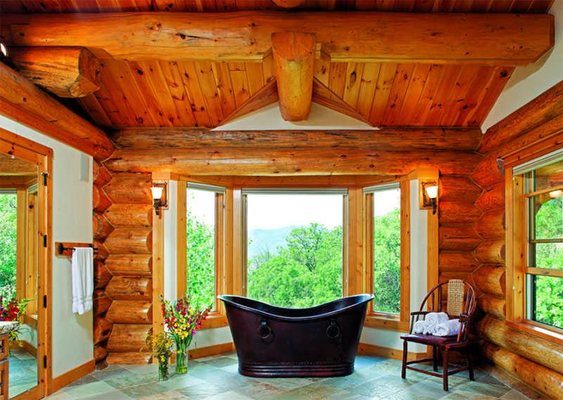 Colorado log home bathroom windows log beams