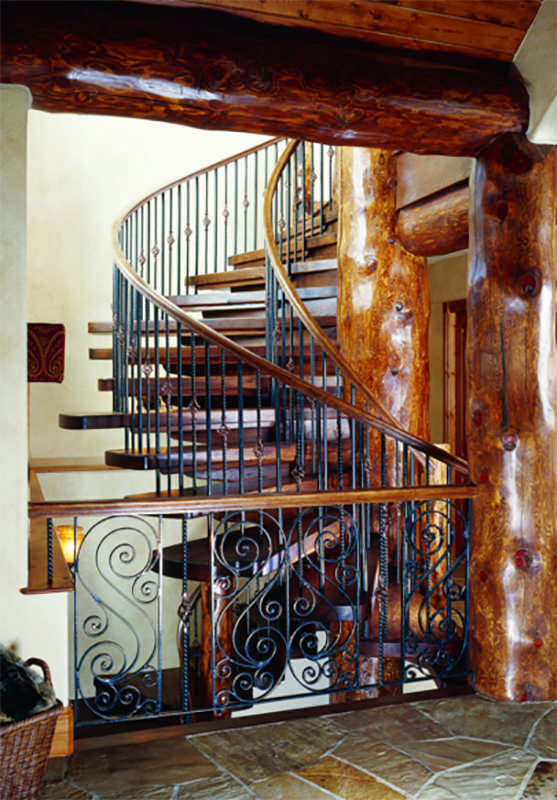 log home spiral staircase