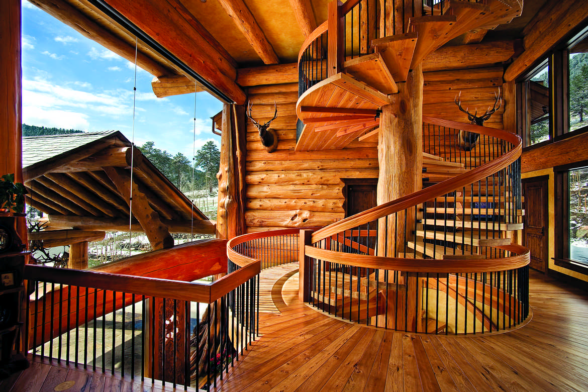 Log home staircases for Www loghome com