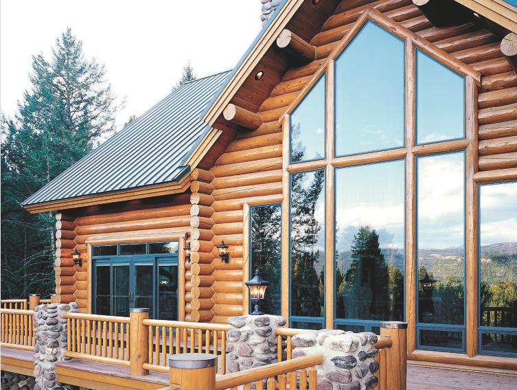 window reflection log home deck
