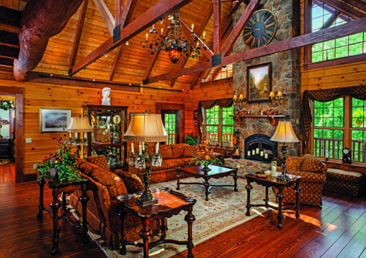 Virginia log home great room stone fireplace