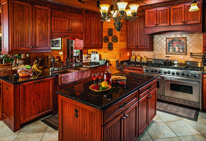 Virginia log home kitchen island