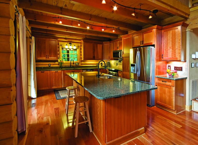 log home kitchen